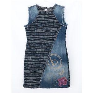 Desigual Cherise Denim Embroidered Patchwork Dress
